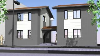 Render viviendas adosadas. Binaced. Brualla-Alcaraz. Arquitectos.